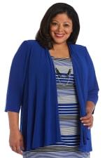 3/4 Sleeve Stripe Dress with Jacket - Plus - 6