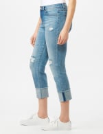 Authentic Stretch Straight Leg Denim Pants with High Fray Cuff - 3