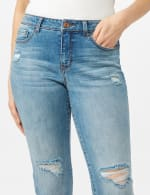 Authentic Stretch Straight Leg Denim Pants with High Fray Cuff - 4
