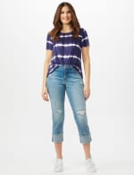 Authentic Stretch Straight Leg Denim Pants with High Fray Cuff - 5