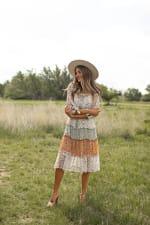 Alexa 3/4 Sleeve Mixed Ditsy Peasant Dress - 5