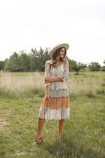 Alexa 3/4 Sleeve Mixed Ditsy Peasant Dress - 4