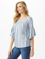 Lurex Textured Stripe Peasant Top - 3