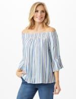 Lurex Textured Stripe Peasant Top - 4