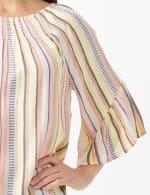 Textured Stripe Flared Sleeve Top - 5