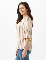 Textured Stripe Flared Sleeve Top - 4
