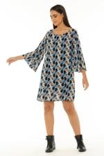 7/8 Sleeve Short Dress Escher Dark Blue - 3