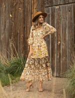 Veronica Mixed Print Peasant Dress - 9