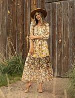 Veronica Mixed Print Peasant Dress - 10