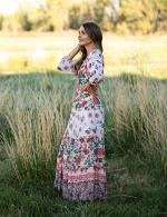Tiered Border Print Maxi Peasant Dress - 5