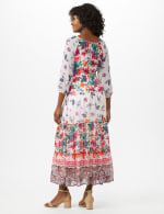 Tiered Border Print Maxi Peasant Dress - 7