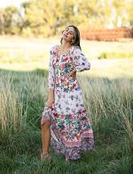Tiered Border Print Maxi Peasant Dress - 6