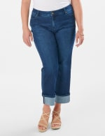 Westport Signature  5 Pocket Girlfriend Jean With Selvedge  Cuff - Plus - Dark Wash - Detail