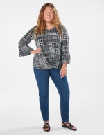 Houndstooth Twist Front Knit Top - Plus - 5