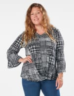 Houndstooth Twist Front Knit Top - Plus - 7