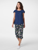 Textured Smock Neck Woven Peasant Top - 6