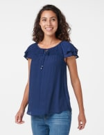 Textured Smock Neck Woven Peasant Top - 7