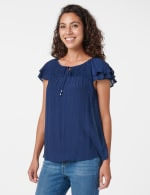 Textured Smock Neck Woven Peasant Top - 8
