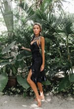 ChaCha Front Slit Dress in Noir - 4