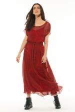 Short Sleeves Midi Dress Baru Red - 3