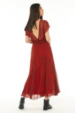 Short Sleeves Midi Dress Baru Red - 4