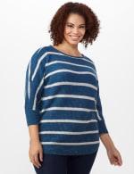 Westport Stripe Curved Hem Sweater - Plus - 6
