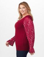 Roz & Ali Pleated Sleeve Pullover Sweater - Plus - 3