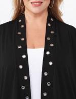 Roz & Ali Novelty Sleeve Grommet Cardigan - 4