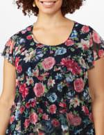 Floral Mesh Tier Knit Top - Plus - 5