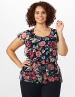 Floral Mesh Tier Knit Top - Plus - 6