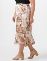 Plus Faux wrap hi low pull on skirt - 4