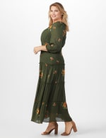 Olive Embroidered Texture Peasant Dress - Plus - 4