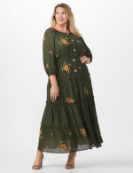 Olive Embroidered Texture Peasant Dress - Plus - 6