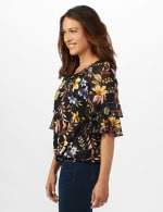 Novelty Sleeve Floral Peasant Knit Top - 4