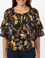 Novelty Sleeve Floral Peasant Knit Top - 5