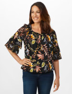 Novelty Sleeve Floral Peasant Knit Top - 6