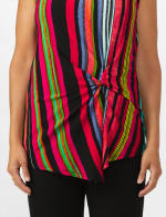 Multi Stripe Knot Front Knit Top - 4
