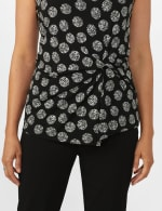 Sleeveless Geo Puff Print Knot Front Top - 5