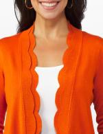 Roz & Ali Long Sleeve Scallop Trim Cardigan - Misses - 4