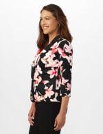 Floral Print Scuba Crepe Faux Pocket Jacket - 3