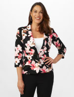 Floral Print Scuba Crepe Faux Pocket Jacket - 5