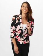 Floral Print Scuba Crepe Faux Pocket Jacket - 6