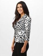 Animal Print Scuba Crepe Jacket with Faux Flap Pockets - 3