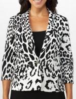Animal Print Scuba Crepe Jacket with Faux Flap Pockets - 4