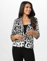 Animal Print Scuba Crepe Jacket with Faux Flap Pockets - 6