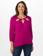 3/4 Sleeve Twist Cut Out Neck Top - Misses - 12