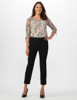 Solid Superstretch Tummy Panel Pull On Ankle Pants With Rivet Trim Bottom - 11