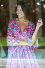 Paisley Bell Sleeve Babydoll Dress - 4