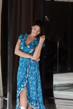 Short Sleeve Wrap Blue Maxi Dress - 3