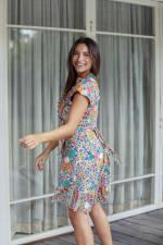 Short Sleeve Multi Print Wrap Dress - 3